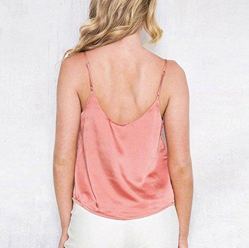 Tops,Yogogo Satin V-Ausschnitt Backless Button Tank Top für Frauen Mädchen Wassermelonenrot
