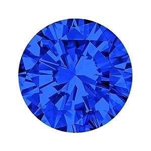 Quiges Austauschbare Mini Coin 12mm Wechselstein Blau Rund Zirkonia für Ringe-Ohrringe-Anhänger-Armband Halter