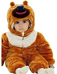 MissFox Unisexe Bébé Mignon Épaissir Grenouillère Animal Cosplay Pyjama Outfit Halloween Onesie Costume