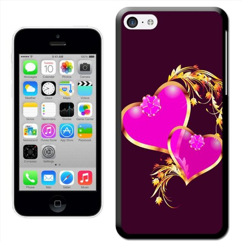 Fancy A Snuggle 'Golden Love Hearts' Hard Case Clip On Back Cover für Apple iPhone 5C Pink Hearts Interlocked