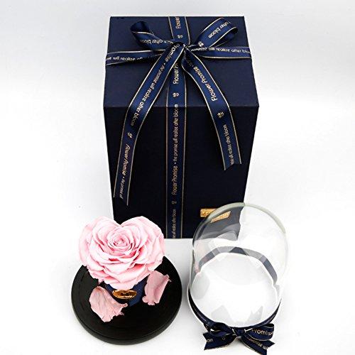 Le coffret rose,éternel verre de fleurs ou des ornements en verre Fleurs Fleurs artificielles Le jour de noël Décoration Envoyer à votre petite amie-N