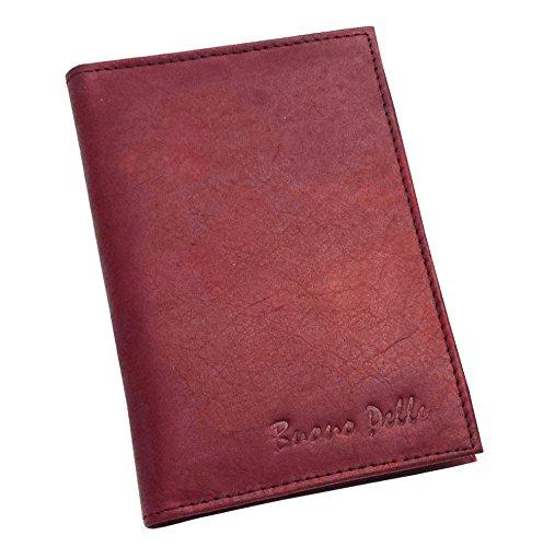 Buono Pelle - Cartera para pasaporte de piel  Rojo rojo (Maroon)