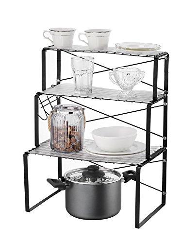 eckregale kueche NEUN WELTEN Multifunktions Küchen-Eckregal 3 Ablagen mit 3 Haken und 3 Regaleinsätzen aus Plastik (Schwarz Matt)