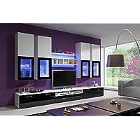All4all Wohnwand ELFANOSI Hochglanz Mit LED Beleuchtung Weiß   Schwarz Mit  Glasvitrine Wohnzimmerschrankwand Anbauwand TV