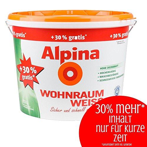 Alpina Wohnraum Weiss 13 L 30% mehr Inhalt Wand und Decken Farbe (Decke Alpine)