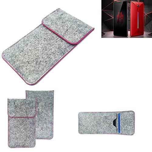 K-S-Trade® Filz Schutz Hülle Für -Nubia Red Magic Mars- Schutzhülle Filztasche Pouch Tasche Case Sleeve Handyhülle Filzhülle Hellgrau Pinker Rand