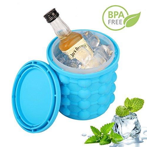 Juli's Wondertools 2 in 1 Eiswürfelform mit Eiswürfelbehälter, BPA-Frei Eisbehälter mit Deckel, Eiswürfelbereiter für Wein, Whisky, Bier und alkoholfreie Getränke