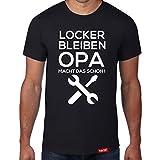 Locker Bleiben Opa Macht Das Schon // Original Hariz® T-Shirt - Sechzehn Farben, XS-4XXL // Männer   Geschenk   Geburtstag   Lustig   Weihnachten #OPA Collection Black XXL