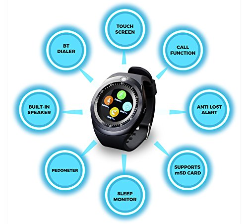 ZEBRONICS Smart Watch (Smart TIME 200) with Alarm Clock, Pedometer,Sleep Monitor, Anti Lost Alert,Camera, Call Function,M-SD Card,Option to Put Nano SIM Card,Built in Speaker