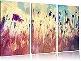 Mohn im Weizenfeld Kunst Pinsel Effekt 3-Teiler Leinwandbild 120x80 Bild auf Leinwand, XXL riesige Bilder fertig gerahmt mit Keilrahmen, Kunstdruck auf Wandbild mit Rahmen, gänstiger als Gemälde oder Ölbild, kein Poster oder Plakat