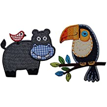 2 patches Tucan 9x9 cm Hippo 9x7cm Patch Hotfix Patches clothes fabric clothes mending Baby Kids sew gift appliqué decoration craft color gray blue orange yellow black brown Set mend Fabric Patch Decoration embroidery to iron on shirt jeans skirt pants clothes cap hat jacket scarf neckerchief blanket backpack Bags Gym bag flap pennant doorplate pad for personal gifts with sewing applications Baby cotton Baby children's city club Soccer Sport N