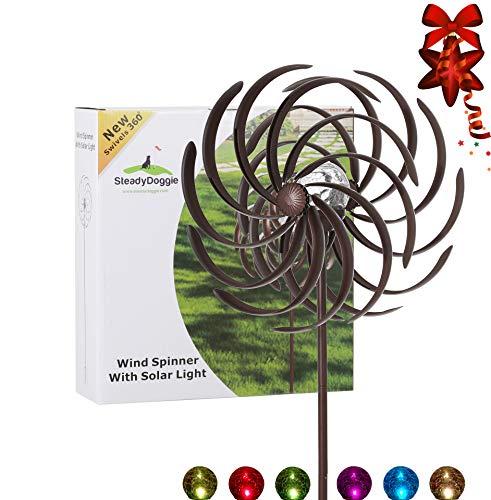 Solar-Windrad & Mehrfarbiges LED-Licht für Rasen, Hof & Garten, Antik-Bronze-Stil & Wasserdichtes Wetterfestes Material, Standfestes Körperhohes 190.5 cm Metall-Windrad, Einfache Montage
