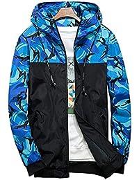 dfdd1689c08638 Shepretty Herren Jacke Kapuzen Frühling Herbst Windbreaker Camouflage  Casual Zip-Hoodie Sportswear Laufjacke