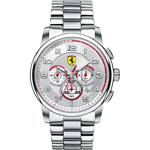 Ferrari Herren Chronograph Quarz Uhr mit Edelstahl Armband 830055