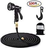 Flexi Schlauch Set 100ft/30M Flexibler Gartenschlauch Wasserschlauch Dehnbar mit 8 Arten Düse zum Autowaschen für Gartenbewässerung (Schwarz)