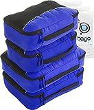 Packwürfel 4pcs Wert Set für Reisen - Plus 6pcs Gepäck Veranstalter Zip Beutel (Deep Blue)