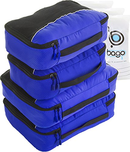 Packing Cubes 4pcs Value Set for Travel - Plus 6pcs Organizer Zip Bags (Deep Blue)