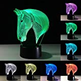 3D Illusion Lamp, Horse Head Effect Night Light, Ticent LED Nightlights 7 Colors Rooms Bedrooms Decorative Lighting with Touch Switch USB Cable Nice Gift Home Office