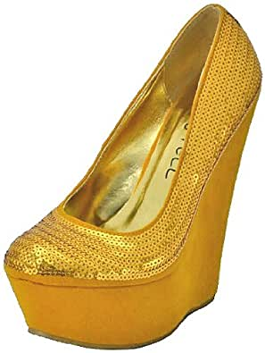 Kiss&Tell Kaylin-01 Mustard Women Wedge Pumps, 8 M UK