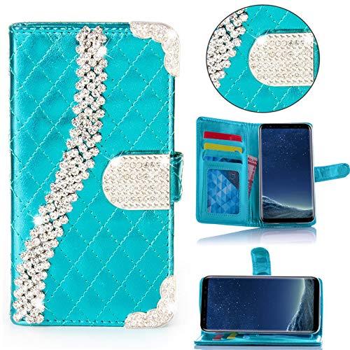 numerva Samsung Galaxy S3 Hülle, Strass Schutzhülle [Bling Case, Standfunktion, Kartenfach] PU Leder Tasche für Samsung Galaxy S3 Neo Handytasche Cover [Türkis]