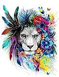 Peinture à l'huile de bricolage, Komking Paintworks Peinture par numéro kit pour adultes, Village de mer kit de peinture pour Home Decor 40,6x 50,8cm Frameless Lion leader