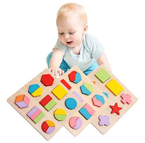 Lewo Holzpuzzle Motorik-Spielzeug Puzzle mit Formen aus Holz für Kinder Lern-Spielzeug Holzspielzeug zur Förderung der motorischen Fähigkeiten geeignet für Mädchen und Jungen