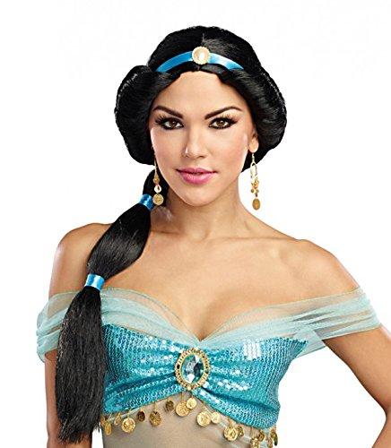 Harem Kostüm Prinzessin - Dreamgirl Perücke Harem Prinzessin Langhaar Zopf schwarz Zubehör Orient Kostüm Fasching