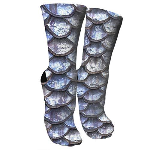 Bgejkos Mermaid Scales - Blue Athletic Sports Socks,Travel & Flight Socks,Painting Art Printed Funny Socks.