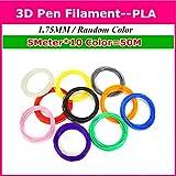 TIANLIANG04 Top Qualität 10/20/30 Farben 1,75 mm PLA 3D-Pen Filament 3D-PLA liefert 3D Drucker Kunststoff PLA Kunststoff 3D-Filament Random Color, 5 m x 10 Farbe PLA