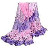 OverDose Frauen Elegant schöne Rose Muster Damen Chiffon Schal Wraps Schals Halstuch Tücher Schlauchschal,A-Pink