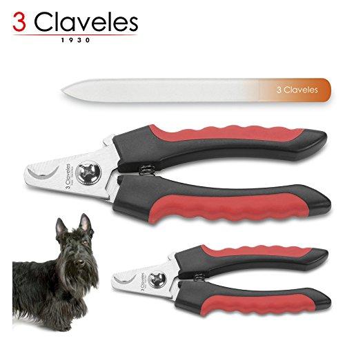 3claveles–pack di 2tagliaunghie professionali in acciaio inox esterilizable con manico ergonomico e lima di vetro 14cm in confezione regalo, speciale animali, dimensioni 16/12.5cm