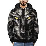 QinMM Herren 3D Printed Wolf Pullover Langarm mit Kapuze Sweatshirt Tops Bluse Herbst Winter Outwear (M, Schwarz)