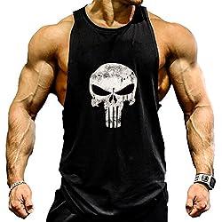 Camisa camiseta hombre tirantes culturismo fitness deportiva. Ropa deporte masculina para entrenar gym (castigador / negra) L