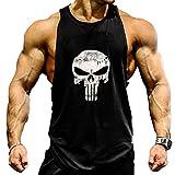 Camisa camiseta hombre tirantes culturismo fitness deportiva. Ropa deporte masculina para entrenar gym (castigador / negra) M