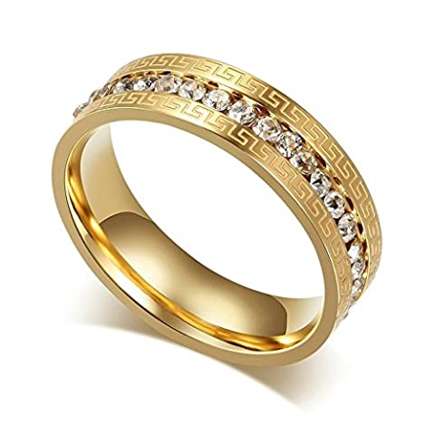 Stainless Steel Women's Rings Gold Engraving Great Wall CZ Size R 1/2 - Adisaer Jewelry