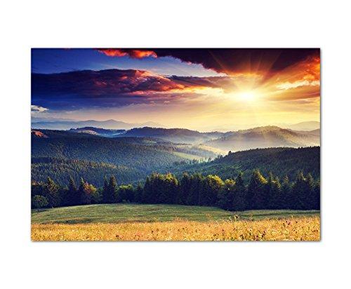 120x80cm - Fotodruck auf Leinwand und Rahmen Landschaft Berge Wald Sonnenuntergang - Leinwandbild auf Keilrahmen modern stilvoll - Bilder und Dekoration