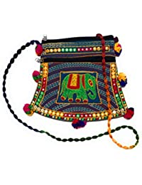 EMBROIDERED PURPLE MULTI-COLOR POM-POM SLING BAG WITH MIRROR WORK FOR GIRLS/WOMEN