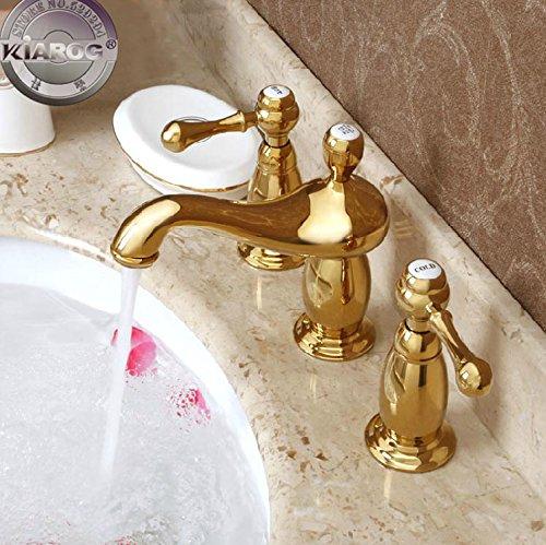 Tougboo bagno con doppio manico lavabo.lamp-shaped 3foro contemporaneo oro acqua del rubinetto.Bagno lavabo oro miscelatore gy-2166 Chrome