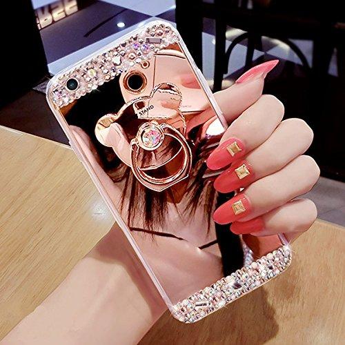 JAWSEU Coque pour iPhone 6 Plus/6S Plus 5.5,Apple iPhone 6S Etsui Housse en Silicone Glitter,iPhone 6 Housse Ultra Mince Transparent Flexible Souple Coque Cas Soft Gel Protective Case Luxe Élégant Fem Rose Or/ous