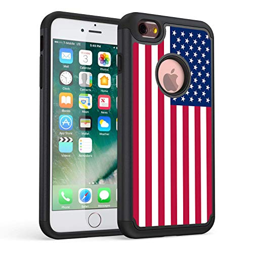 iPhone 6 Plus Case, iPhone 6S Plus Case, Rossy USA American Flag Design Heavy Duty Dämpfung Silikon Kunststoff Hybrid Dual Layer Rüstung Defender Schutzhülle Cove für Apple iPhone 6/6S Plus (Iphone 4 Amerikanische Flagge Fall)