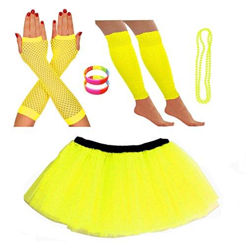 Kostümset mit Tutu, Stulpen, Fischnetz-Handschuhen, Perlen-Halskette und Armbändern mit Neon-Perlen Gr. One size, gelb (Kostüme Verkauf Online)