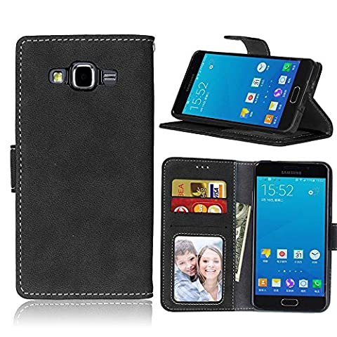 Samsung Galaxy A5 Case Leather, Ecoway Retro Scrub PU Leather Stand Function Protective Cases Covers with Card Slot Holder Wallet Book Design for Samsung Galaxy A5 - black