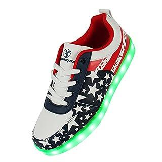 Shinmax Blue Star Pattern LED Schuhe 7 Farben USB-Lade Schuhe Leuchtschuhe Sneakers für Männer und Frauen zum Valentinstag Weihnachten Halloween mit CE-Zertifikat - size_name: 35 EU, color_name: Rot Star