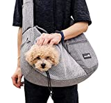 Pecute Pet Sling Carrier for Small Doggie Cat Hand Free Sling Carrying Bag-Dog Papoose Carrier with Adjustable Padded Shoulder Strap, Safety Belt, Multi Pockets - Great for Outdoor Travel Walk Subway