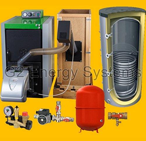 25 kW Pelletkessel + 800 Liter Pufferspeicher mit 1 Wärmetauscher + 140 Liter Ausdehnungsgefäß mit Kappenventil + Zubehör Komplettpaket - Holzkessel mit Brenner, Förderschnecke Behälter erfüllt BimSch 2