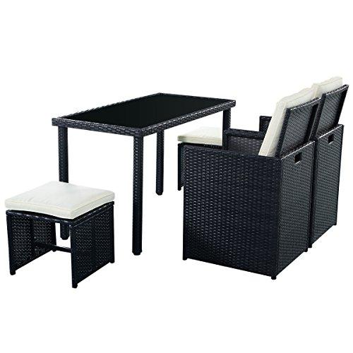 5tlg Gartenmöbel Polyrattan Lounge Set Esstisch Set Rattanmöbel Gartensitzgruppe Essgruppe Gartengarnitur Gartenset Tisch Stühlen Hocker Garnitur inkl. Kissen - 5