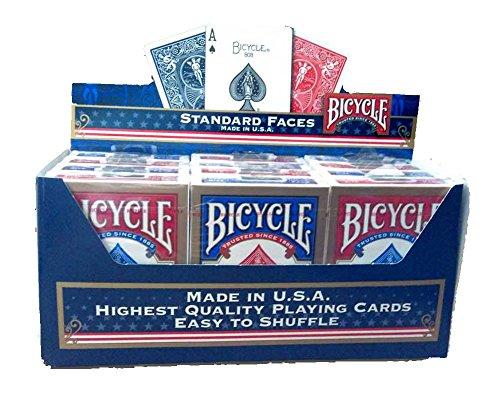 Paket von 12 Pokerkarten Bicycle Standard (6 Blau / 6 Rot) (Playing Card Deck Box)
