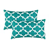 CaliTime Pack of 2 Bolster Pillow Covers Cases for Bench Sofa Home Decor, Modern Quatrefoil Accent Geometric, 30cm x 50cm, Teal
