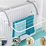 TECHSUN Indoor/Outdoor Easy Install Folding Clothes Towels Drying Rack Hanging On The Door Window Hanger Clothing, Socks, Shoes Rack and Plant Holder, Windowsill Guardrail Corridor Balcony, White
