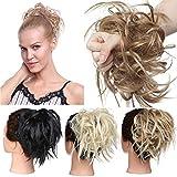 TESS Haargummi Haarteil Dutt mit Haaren Glatt struppige Haarknoten Hochsteckfrisuren günstig Haarverlängerung für Frauen 45g Hellbraun/Mittelblond